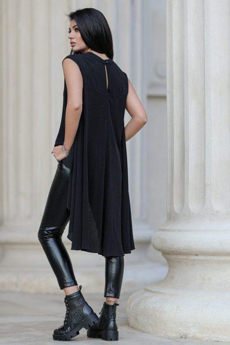 Μαύρη Ασύμμετρη Μπλούζα Cool 8403