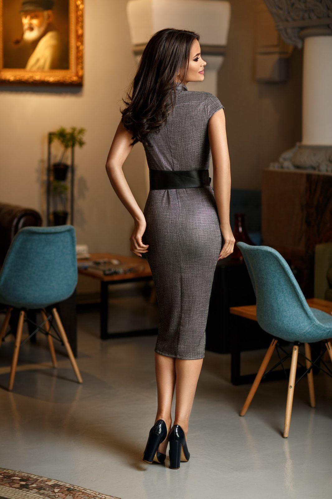 Γκρι Κρουαζέ Φόρεμα Με Ζώνη Sharon 8395 1