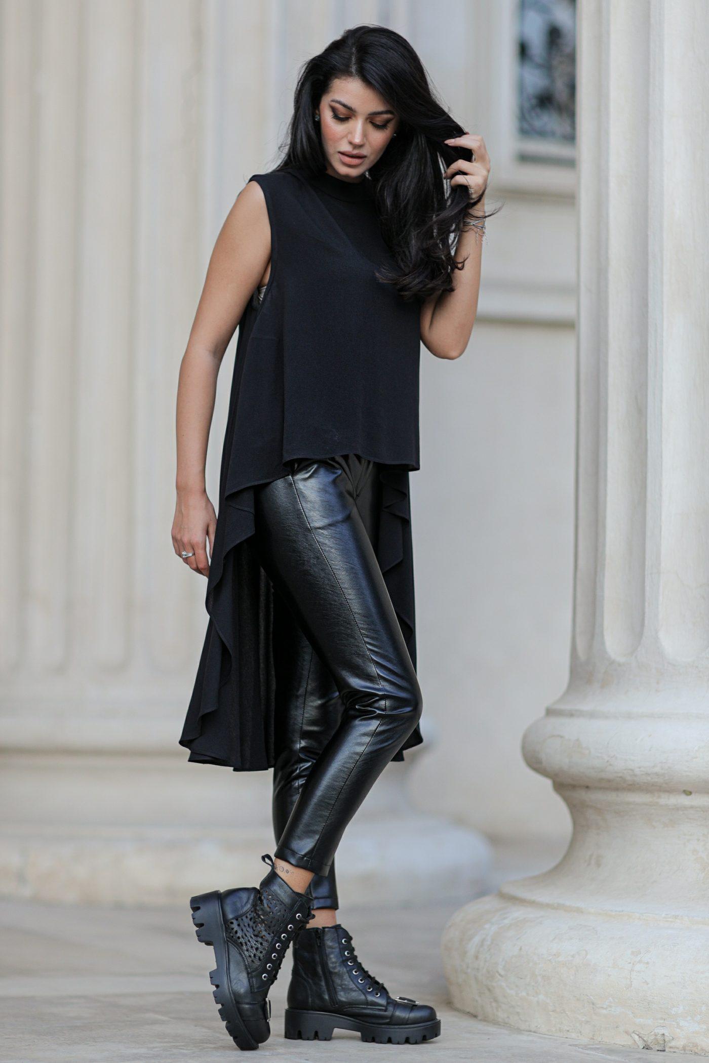 Μαύρο Παντελόνι Από Δερματίνη Glavo 8408