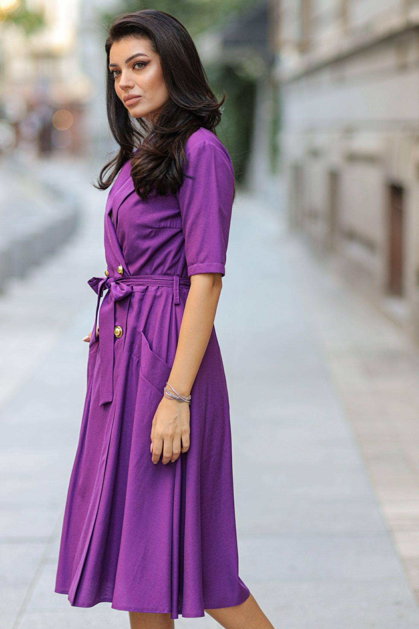 Βιολετί Καθημερινό Φόρεμα Asha 8409