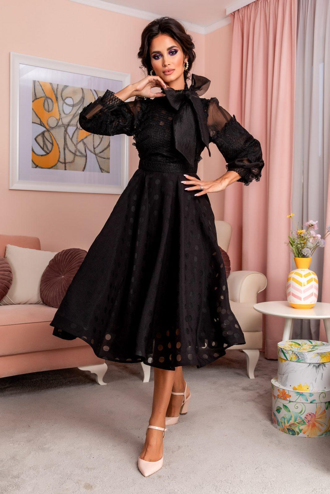 Μαύρο Βραδινό Φόρεμα Με Δαντέλα Radiant 8202