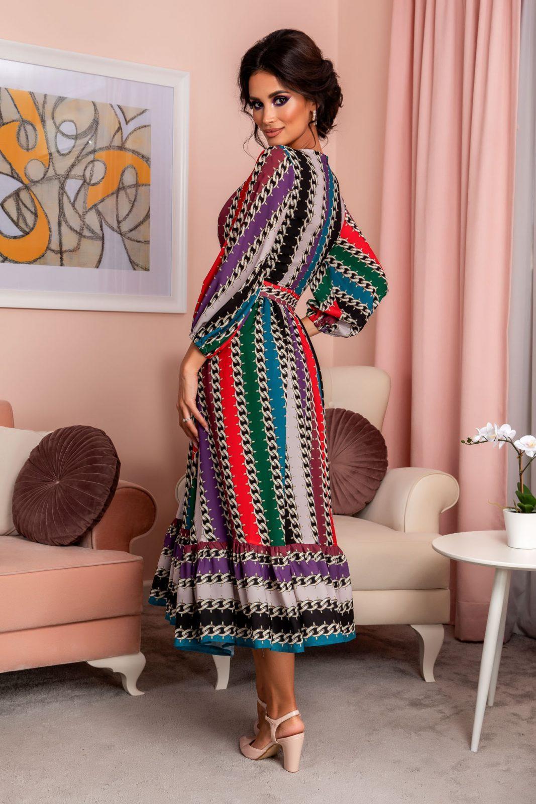 Πολύχρωμο Κρουαζέ Φόρεμα Με Βολάν Odiseea 8223 1