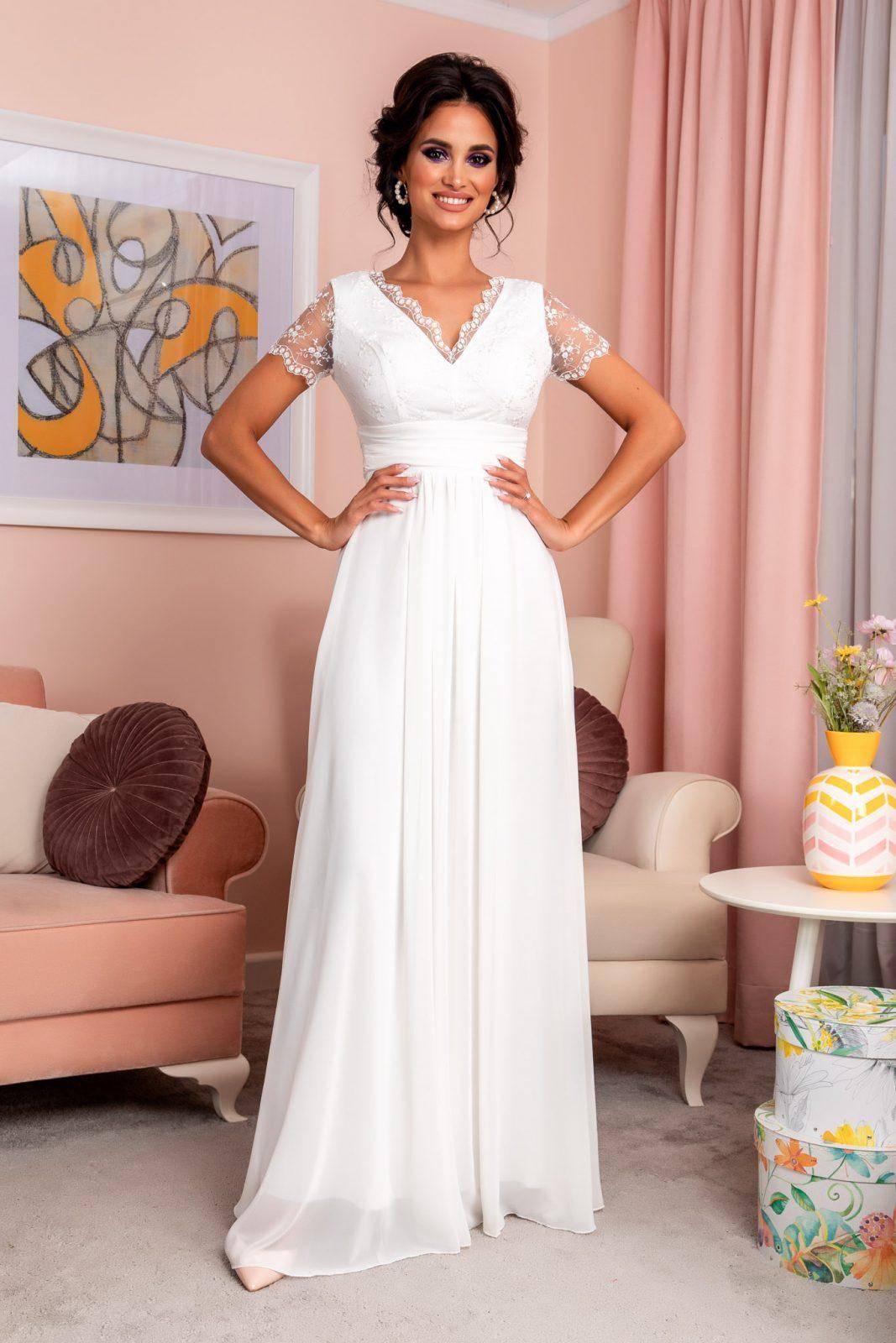 Λευκό Μάξι Φόρεμα Με Δαντέλα Trendiness 8204