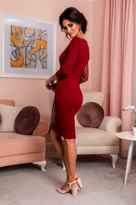 Μπορντό Κρουαζέ Φόρεμα Με Πούλιες Tender 8216