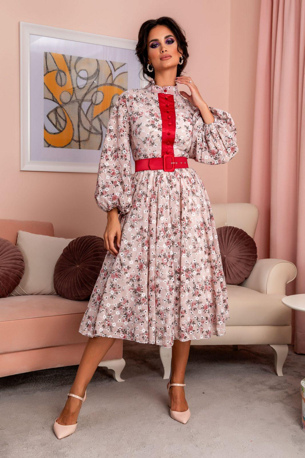Ροζ Φλοράλ Φόρεμα Με Φουσκωτά Μανίκια Odessa 8110