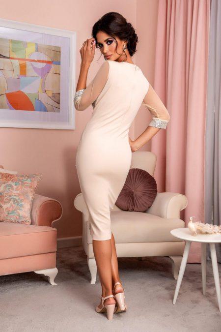 Nude Βραδινό Φόρεμα Με Πούλιες Sheryl 8221