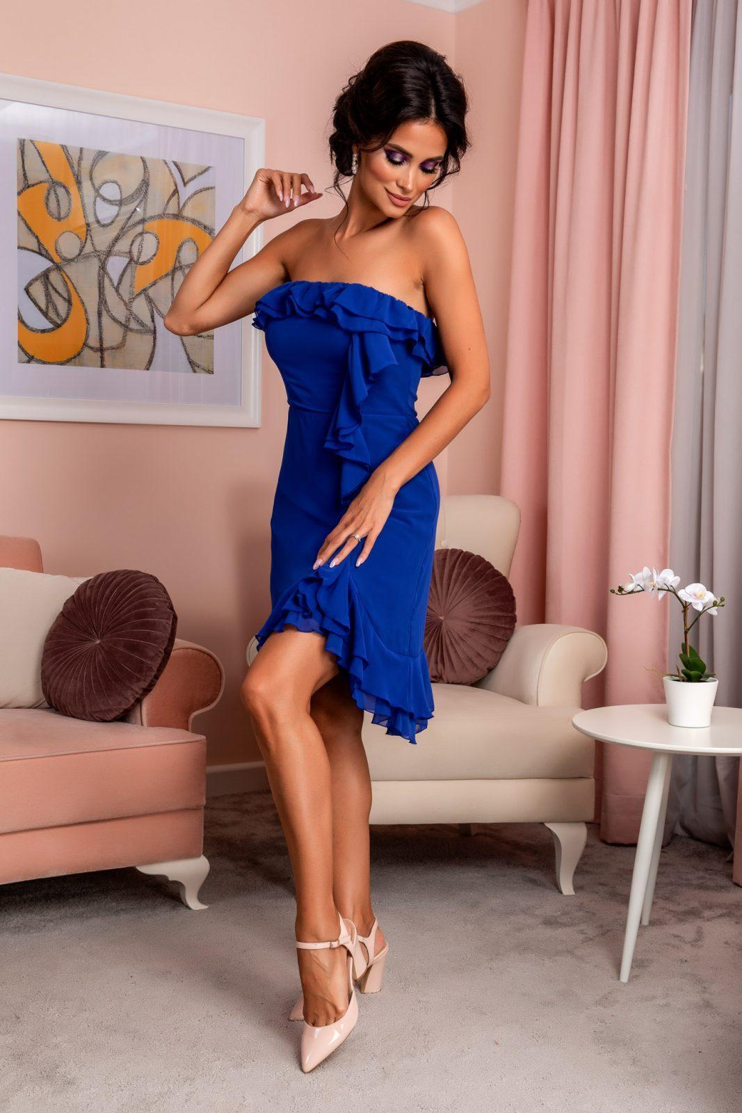 Μπλε Στράπλες Φόρεμα Με Βολάν Annes 7973 1