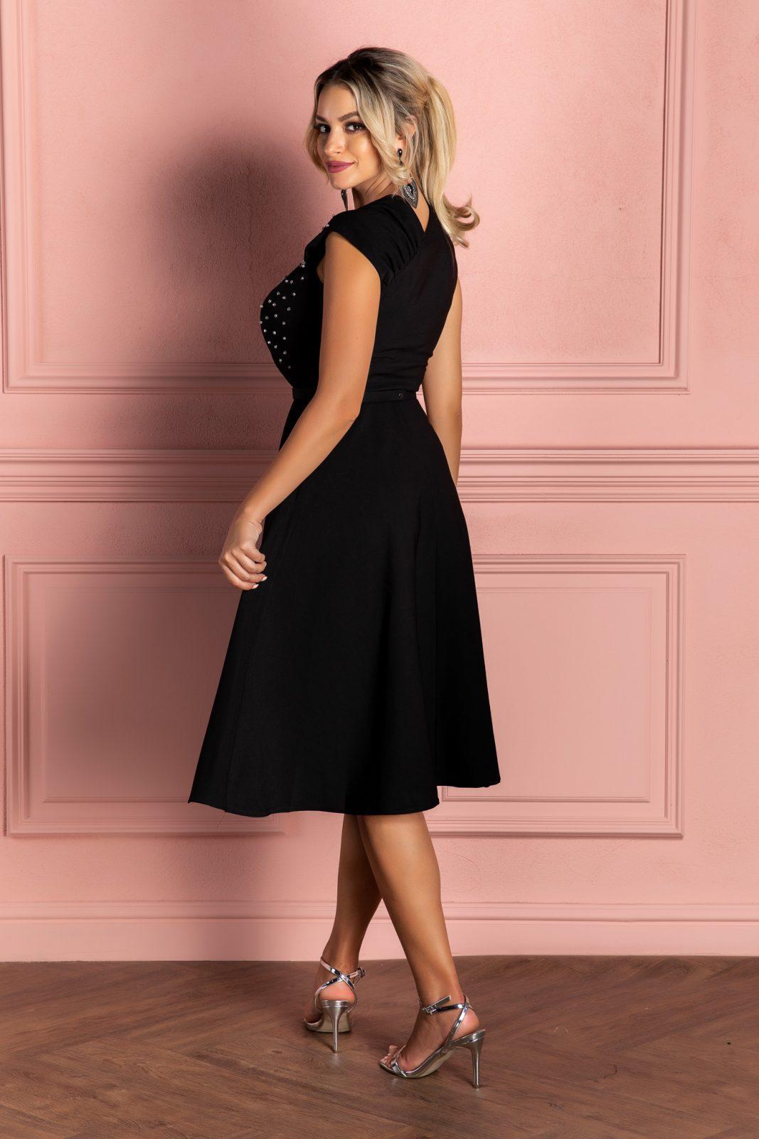 Μαύρο Αμάνικο Βραδινό Φόρεμα Oxana 8083 1