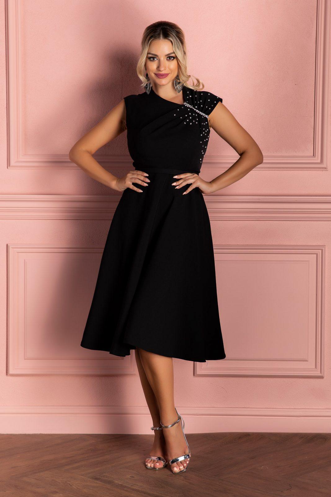 Μαύρο Αμάνικο Βραδινό Φόρεμα Oxana 8083