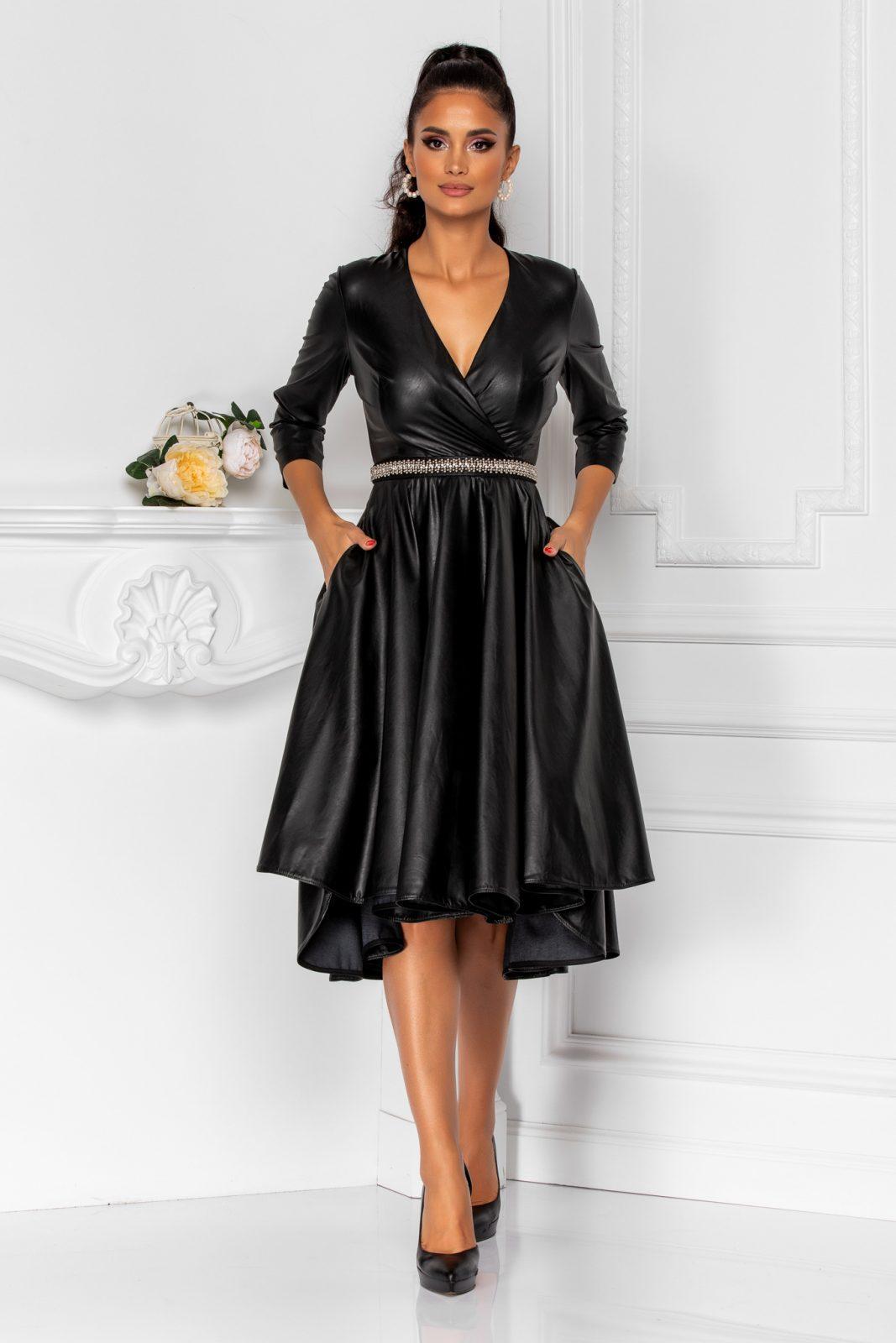 Μαύρο Κρουαζέ Φόρεμα Από Δερματίνη Kristine 8285