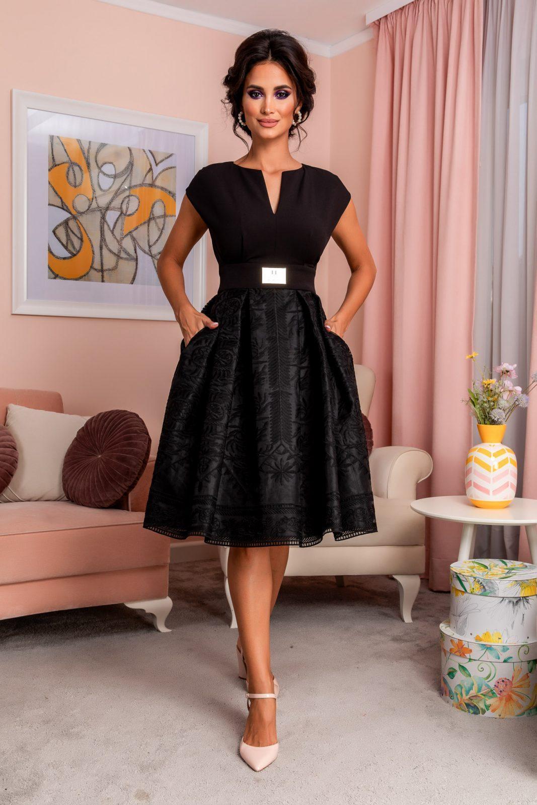 Μαύρο Βραδινό Φόρεμα Με Δαντέλα Tamisa 8208
