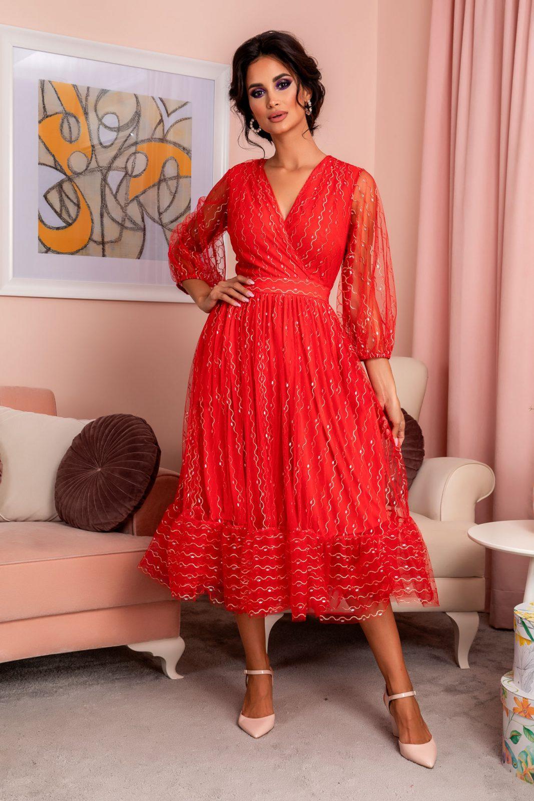 Κόκκινο Βραδινό Φόρεμα Ofelia 8169