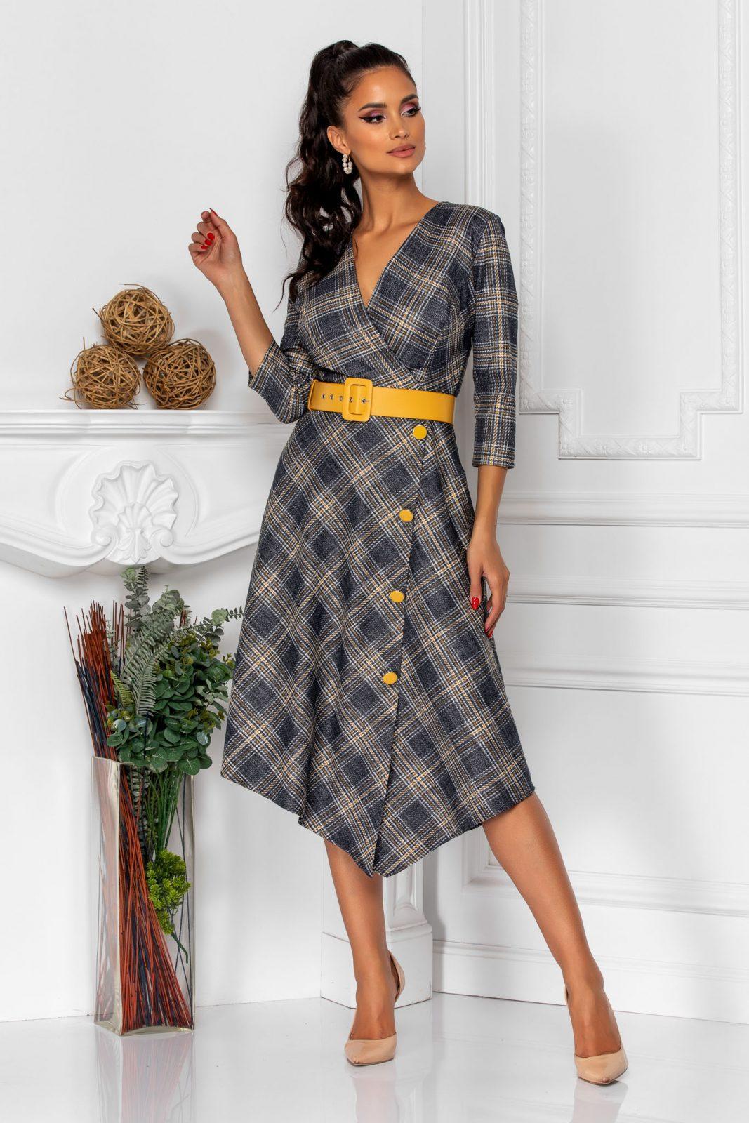 Καρό Φόρεμα Με Κίτρινη Ζώνη Rinny 8335