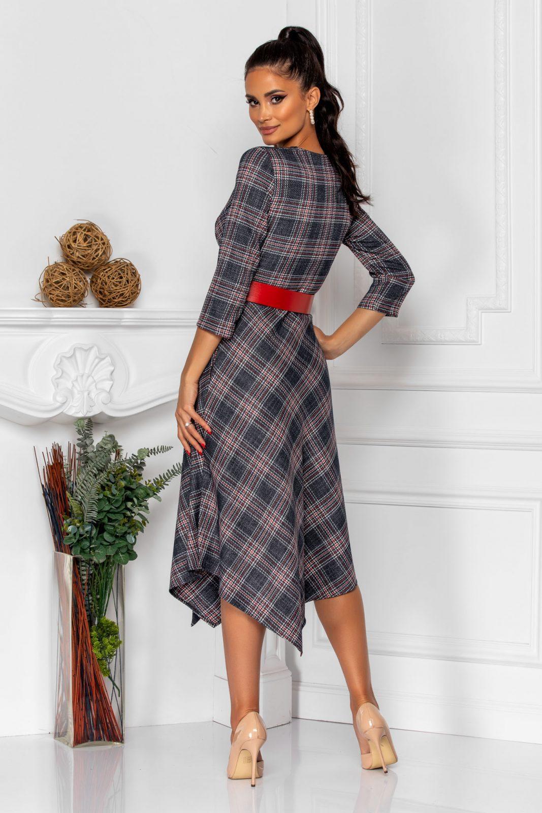 Καρό Φόρεμα Με Κόκκινη Ζώνη Rinny 8336 1