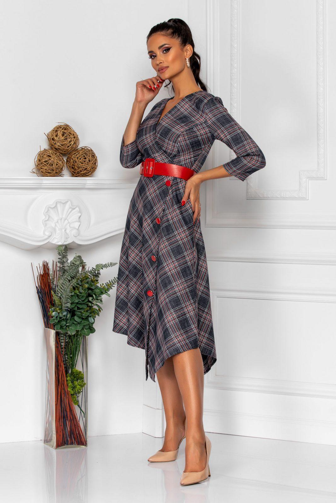 Καρό Φόρεμα Με Κόκκινη Ζώνη Rinny 8336 2