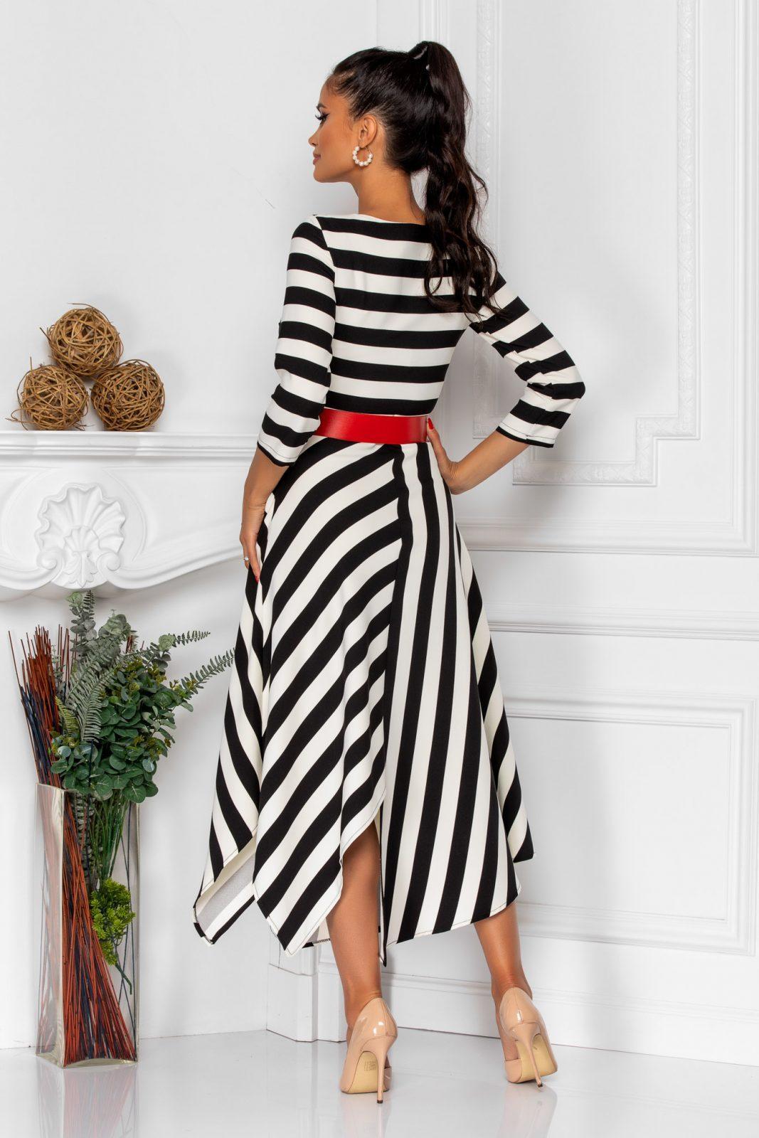 Ασπρόμαυρο Ριγέ Φόρεμα Με Ζώνη Vicky 8527 1