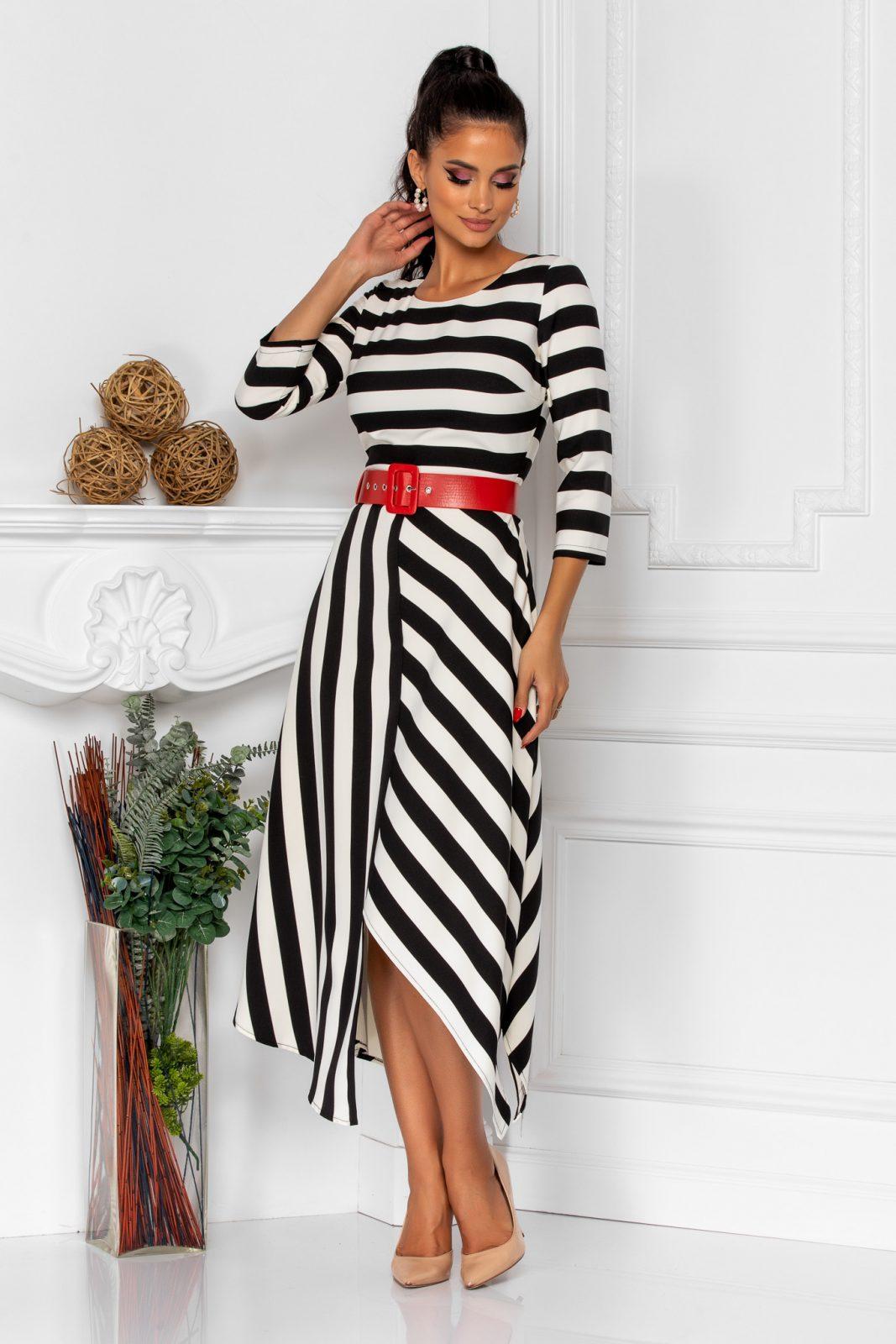 Ασπρόμαυρο Ριγέ Φόρεμα Με Ζώνη Vicky 8527 2