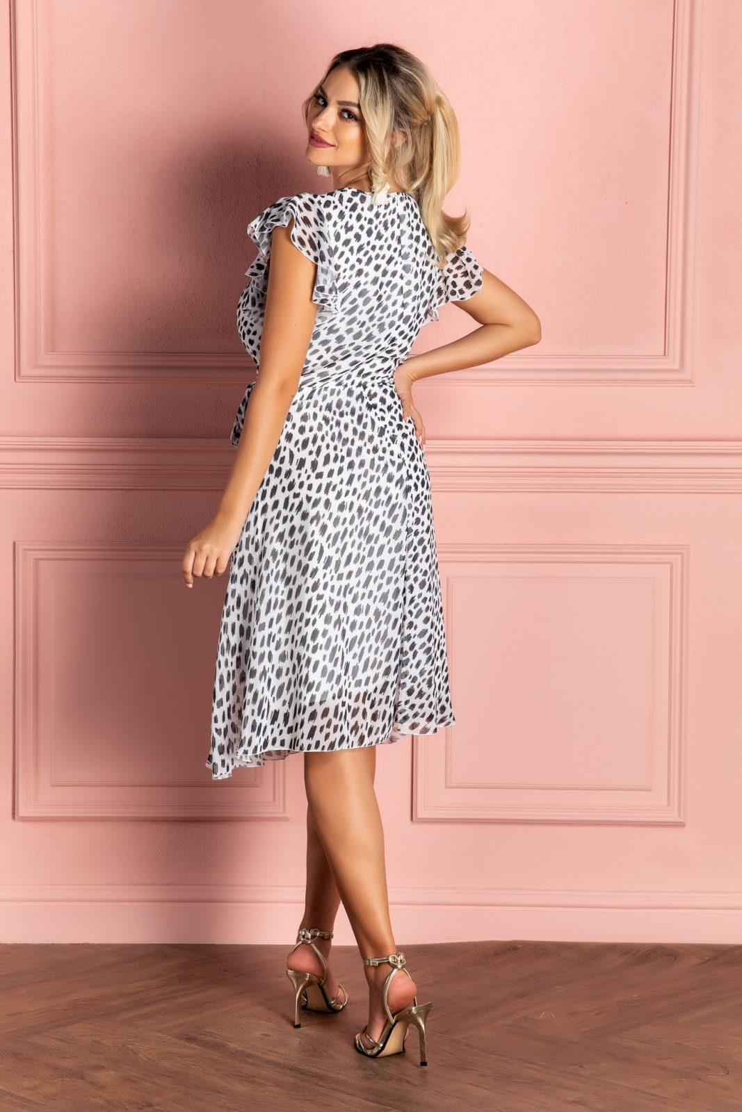 Μίντι Λευκό Κρουαζέ Φόρεμα Heidy 8089