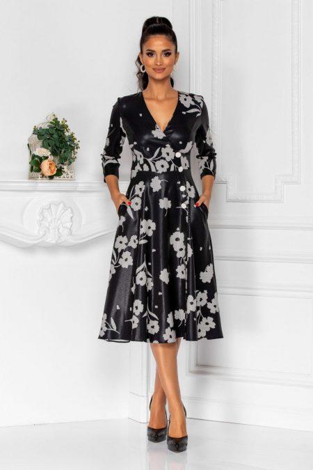 Μαύρο Κρουαζέ Μίντι Φόρεμα Steff 8349