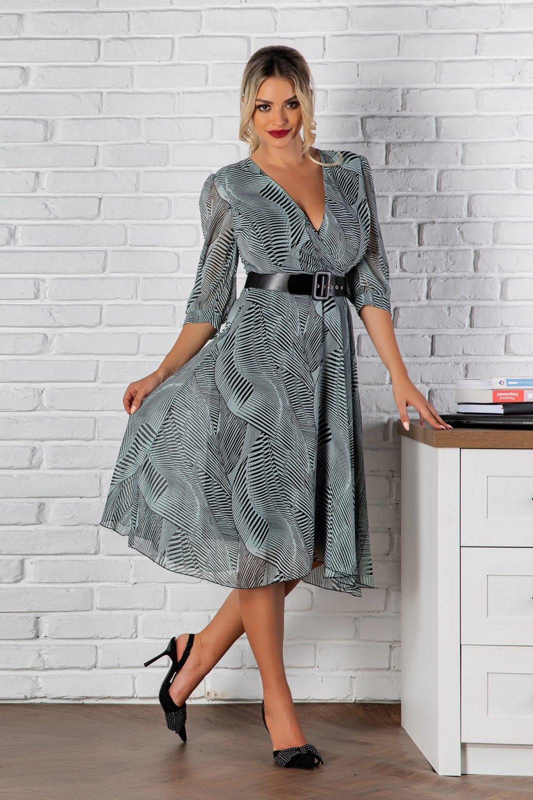 Μέντα Φόρεμα Με Μαύρη Ζώνη Jolie 8187 3