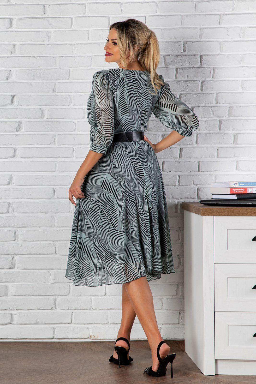 Μέντα Φόρεμα Με Μαύρη Ζώνη Jolie 8187 1