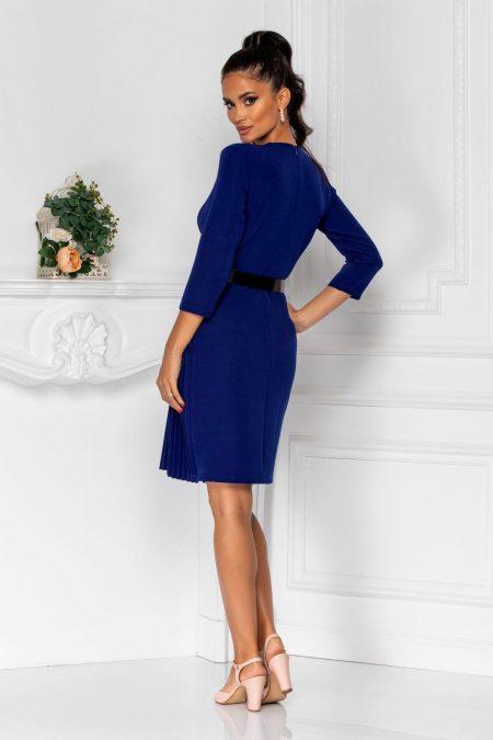 Πλισέ Κρουαζέ Μπλε Φόρεμα Με Ζώνη Jenny 8321