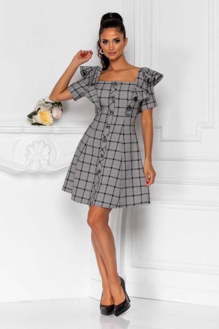 Γκρι Καρό Φόρεμα Vanya 8377