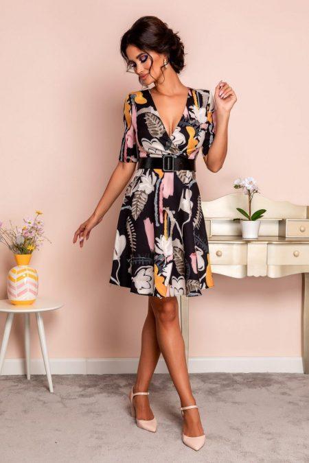 Φλοράλ Μαύρο Κρουαζέ Φόρεμα Flaminia 8018
