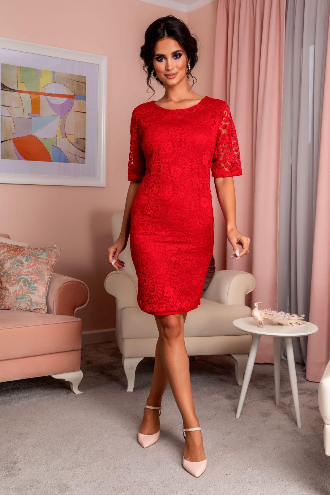 Κόκκινο Φόρεμα Από Δαντέλα Glancy 8256