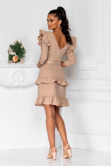 Μπεζ Φόρεμα Με Βολάν Joleen 8361