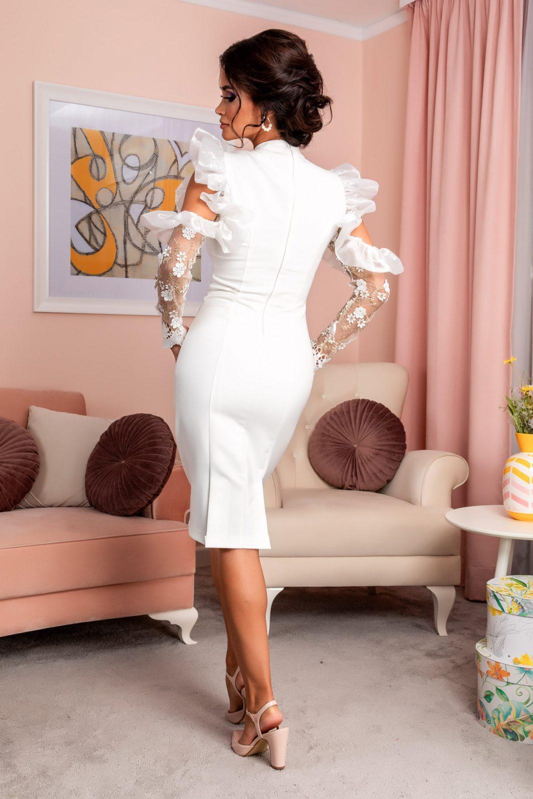 Λευκό Βραδινό Φόρεμα Με Δαντέλα Reyna 8209