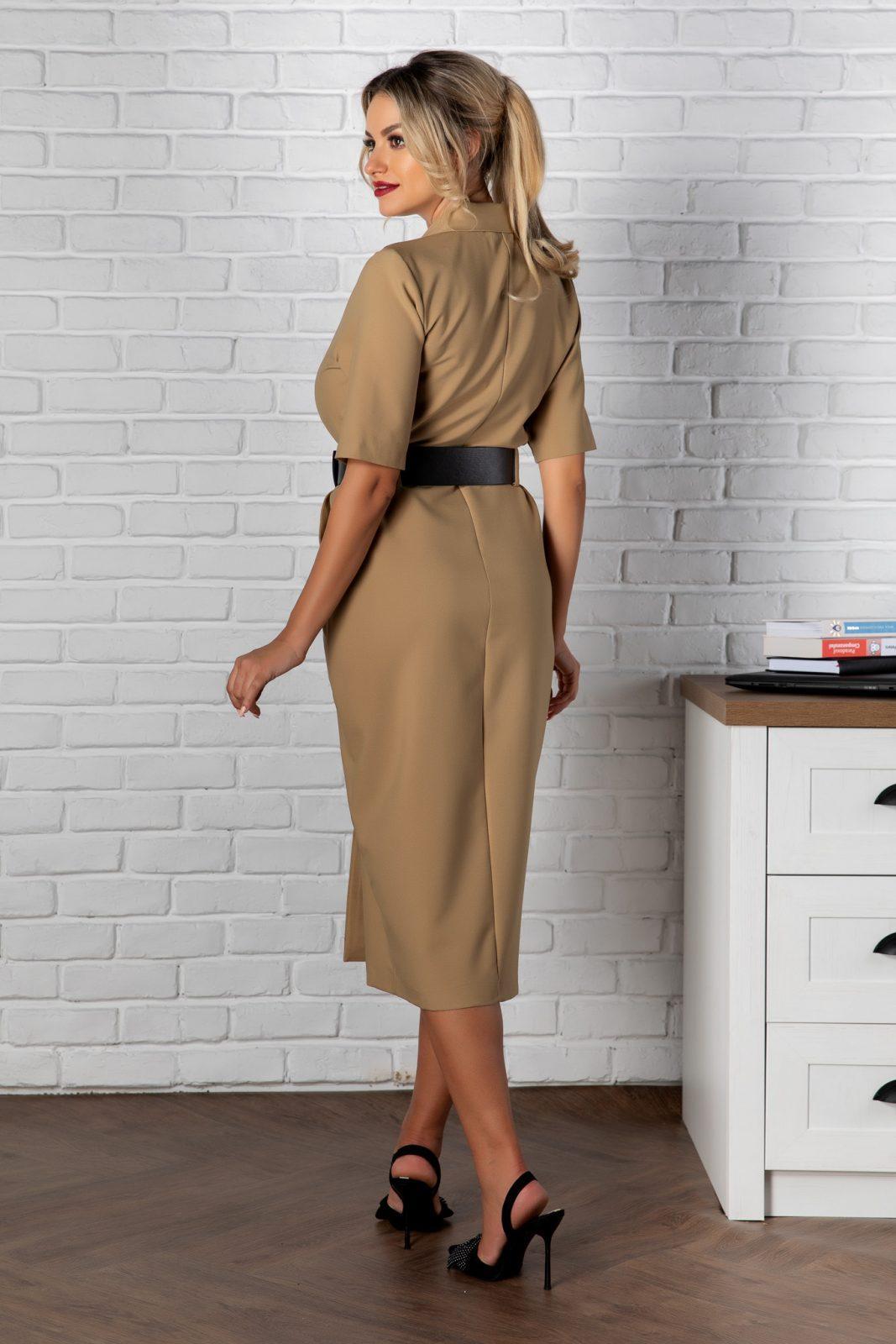 Μίντι Μπεζ Φόρεμα Με Ζώνη Onda 8172