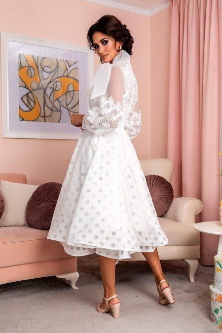 Λευκό Βραδινό Φόρεμα Με Δαντέλα Radiant 8201