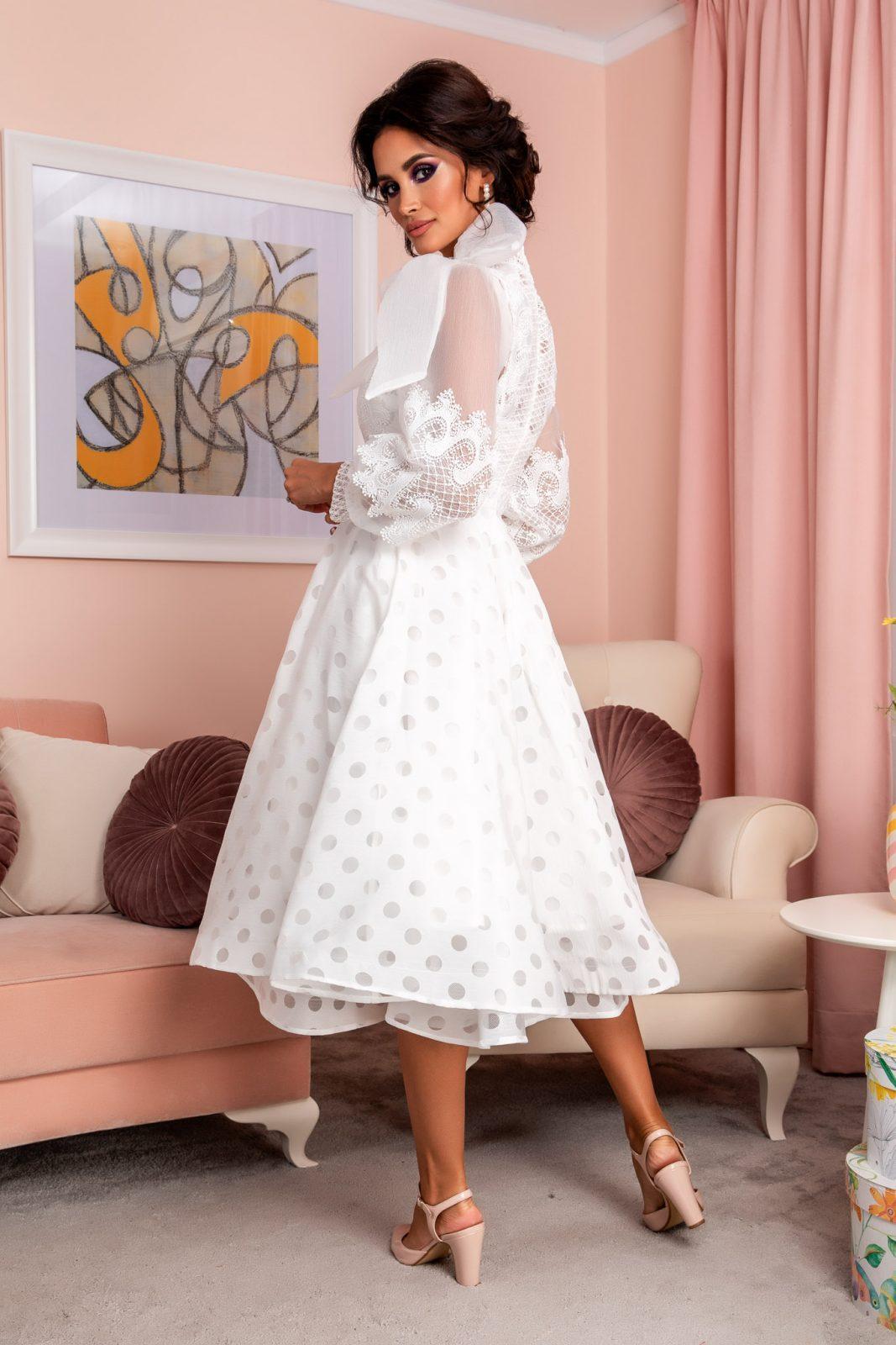 Λευκό Βραδινό Φόρεμα Με Δαντέλα Radiant 8201 1