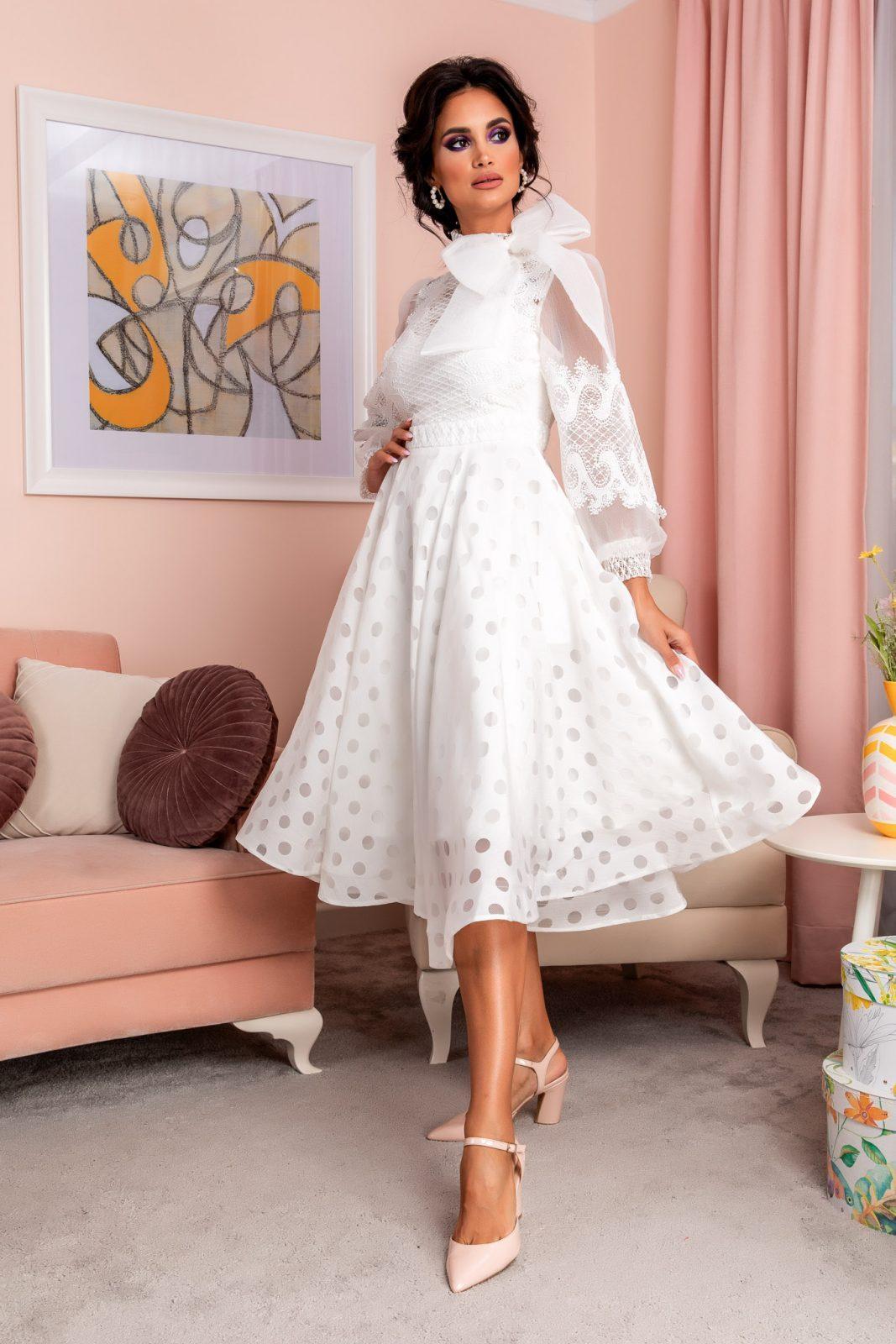 Λευκό Βραδινό Φόρεμα Με Δαντέλα Radiant 8201 2