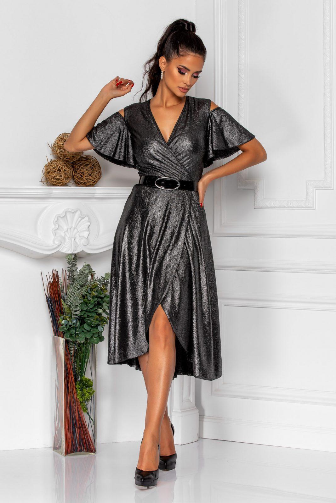 Ασημί Βραδινό Φόρεμα Venera 8292