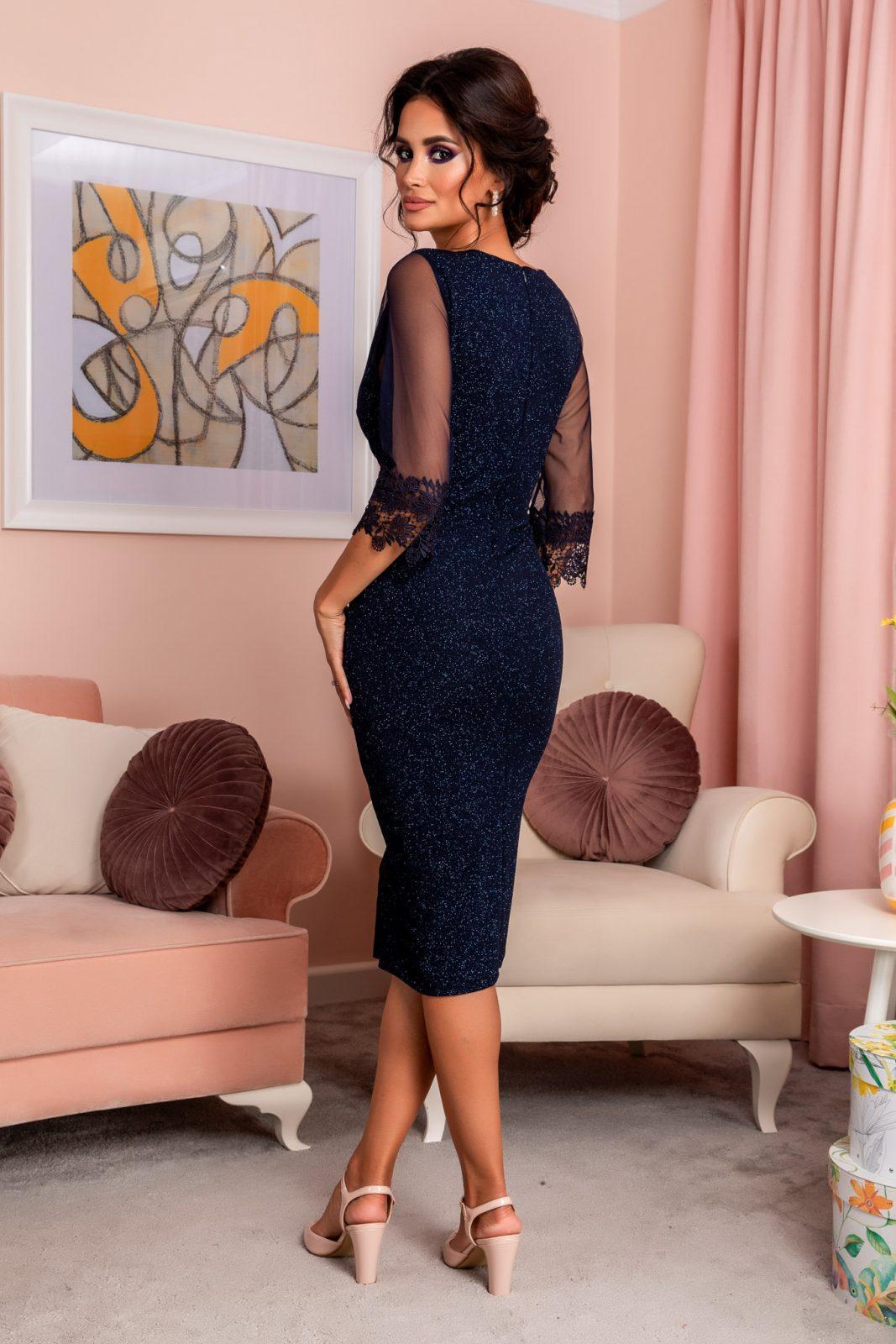 Μπλε Κρουαζέ Βραδινό Φόρεμα Opra 8238