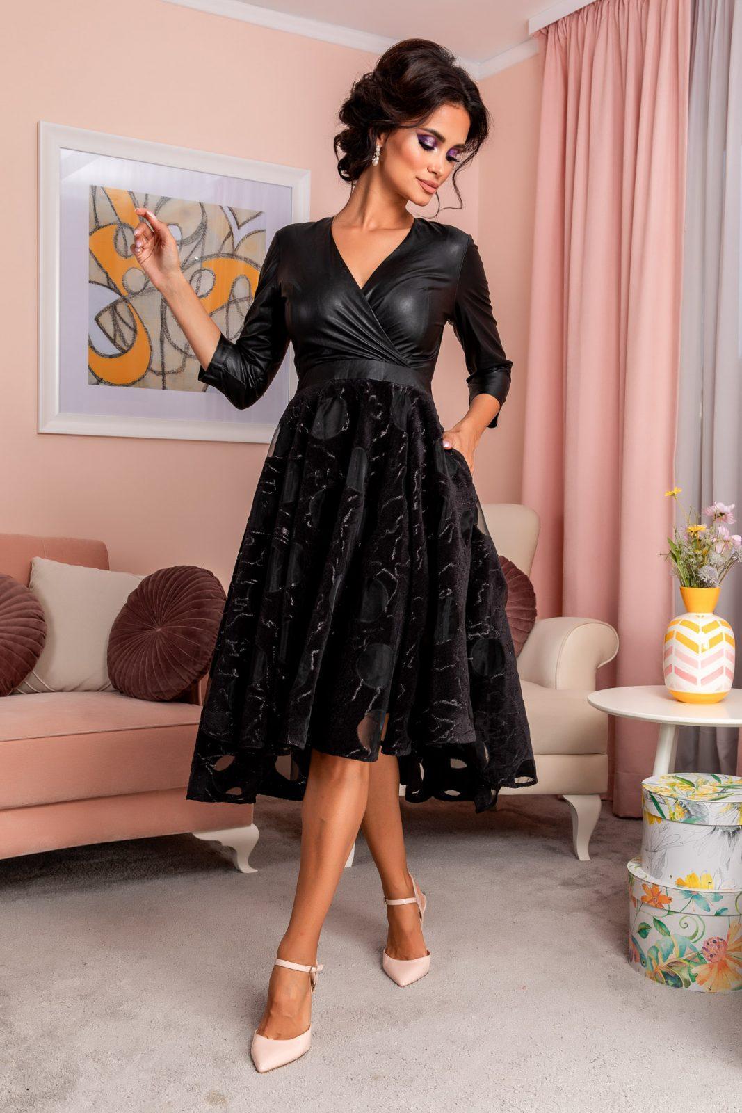 Μαύρο Βραδινό Κρουαζέ Φόρεμα Terra 8224 1