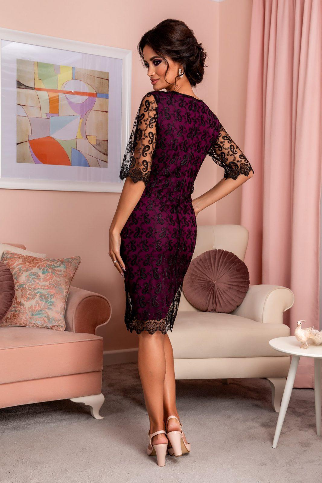 Βιολετί Βραδινό Φόρεμα Από Δαντέλα Emilly 8259 1