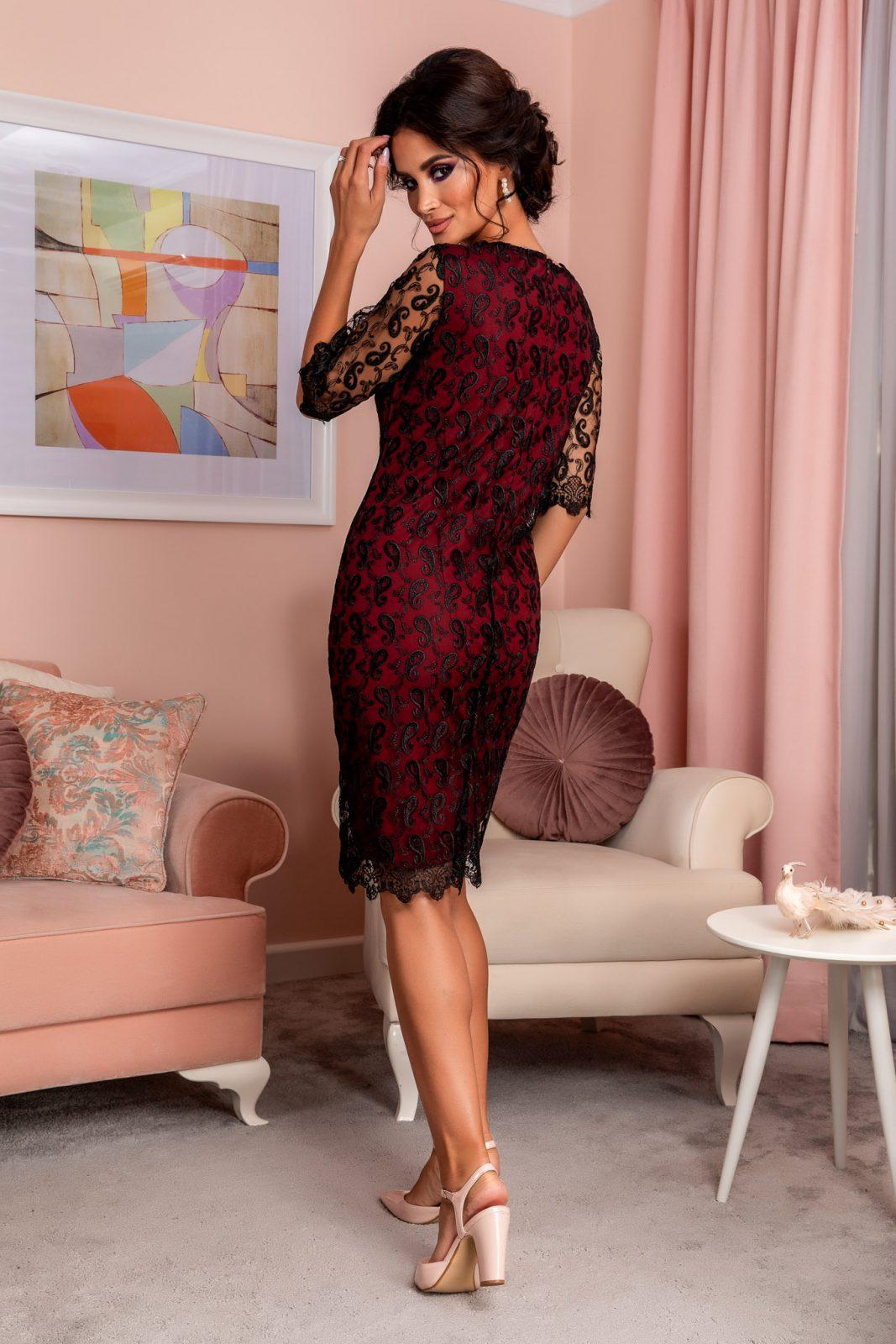 Μπορντό Βραδινό Φόρεμα Από Δαντέλα Emilly 8254 1