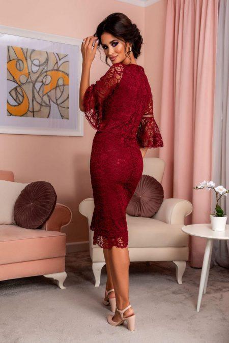 Μπορντό Βραδινό Φόρεμα Από Δαντέλα Rowena 8248