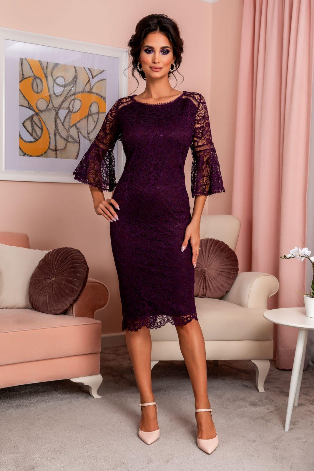Βιολετί Βραδινό Φόρεμα Από Δαντέλα Rowena 8249