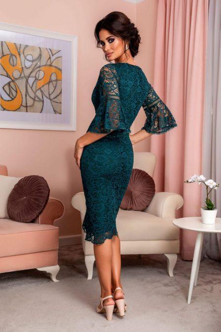 Πράσινο Βραδινό Φόρεμα Από Δαντέλα Rowena 8247