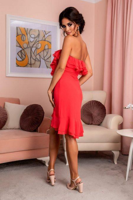 Κοραλί Στράπλες Φόρεμα Με Βολάν Annes 7974
