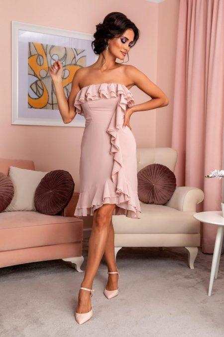 Ροζ Στράπλες Φόρεμα Με Βολάν Annes 7972