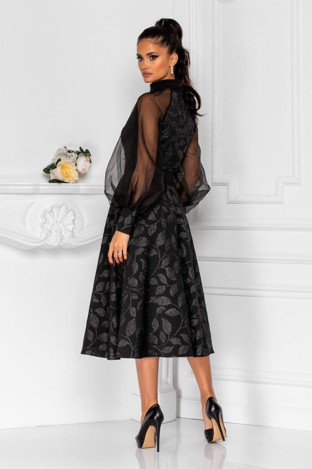 Μαύρο Φόρεμα Με Φουσκωτά Μανίκια Divya 8284 1