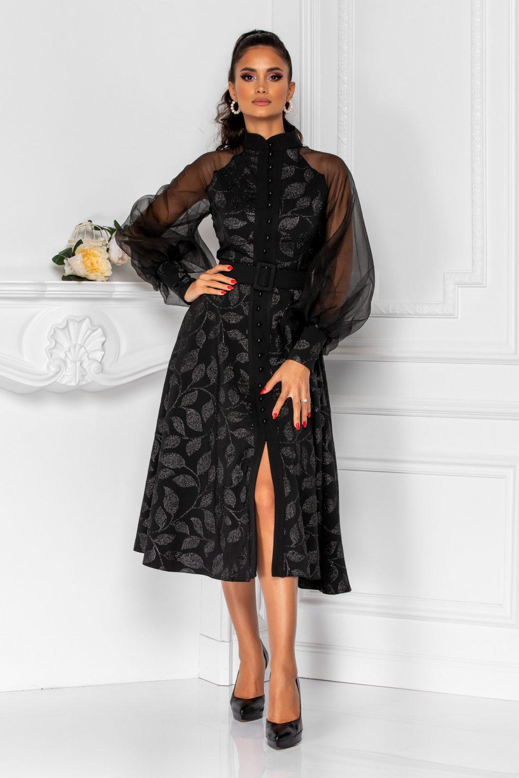 Μαύρο Φόρεμα Με Φουσκωτά Μανίκια Divya 8284 2