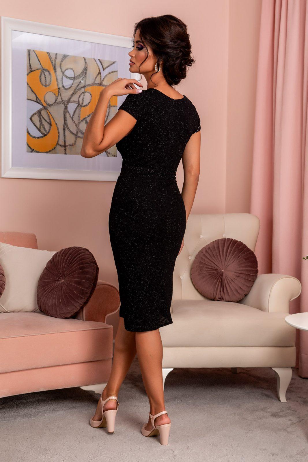 Μαύρο Κρουαζέ Φόρεμα Με Πούλιες Grazzia 8220 1