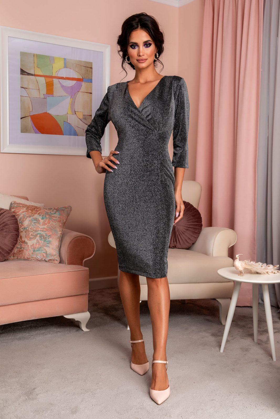Μαύρο Κρουαζέ Φόρεμα Relya 8251 2