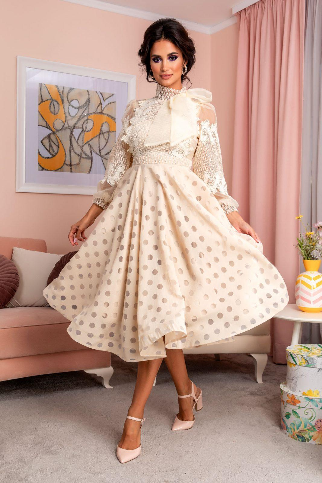 Nude Βραδινό Φόρεμα Με Δαντέλα Radiant 8203